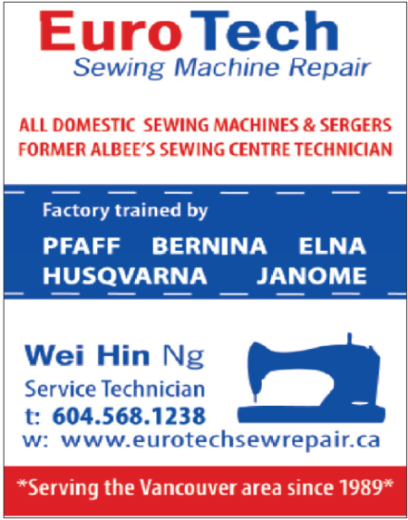 Ad: Euro Tech Sewing Machine Repair