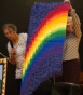 One of many rainbow and colour theory quilts - Judy used the pillow method of backing to allow for the uneven edges at the bottom, and a hammer to flatten the seams