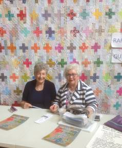 To give you an idea of the size, here are Suzanne and Noreen selling tickets at Seymour Quilters Guild's May meeting.